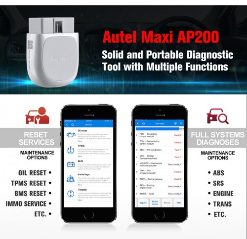 Autel MaxiAP AP200 Bluetooth OBD2 Scanner Code Reader with Full Systems Diagnoses