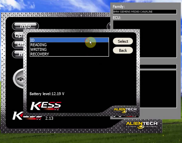 KTAG software display