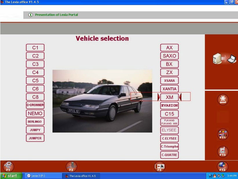 LEXIA 3 SOFTWARE DISPLAY