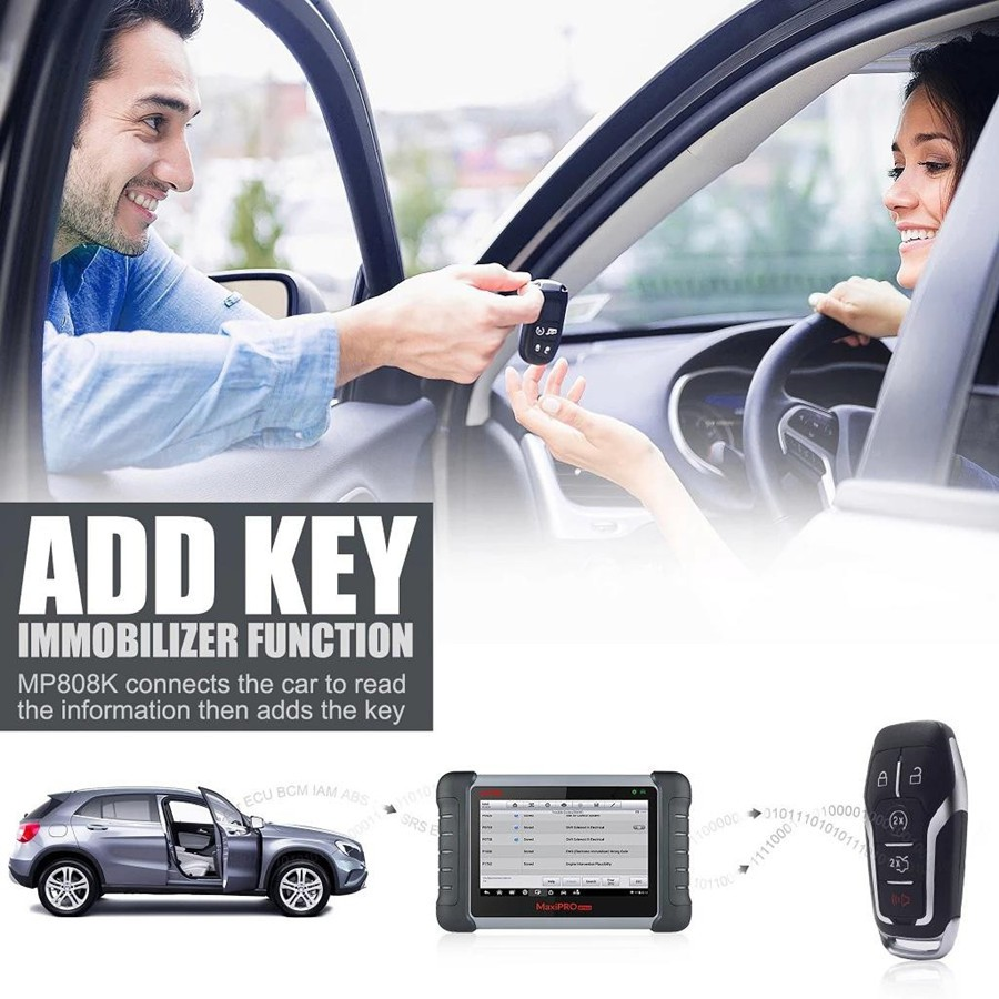 Autel mp808k add key and ecu coding function image