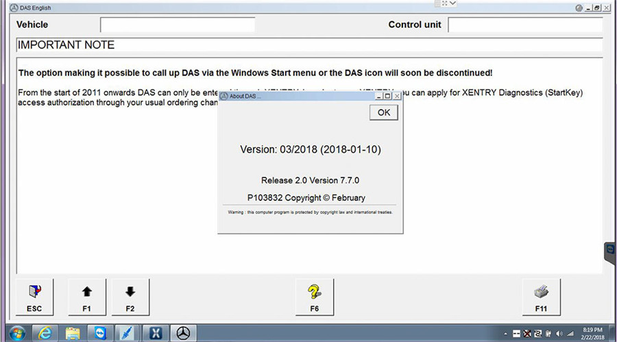 2018.3 MB SD Connect Compact C4 Software WIN7/WIN 10 500GB HDD DELL D630