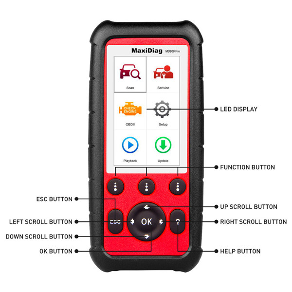 autel maxidiag md808 pro buttons display