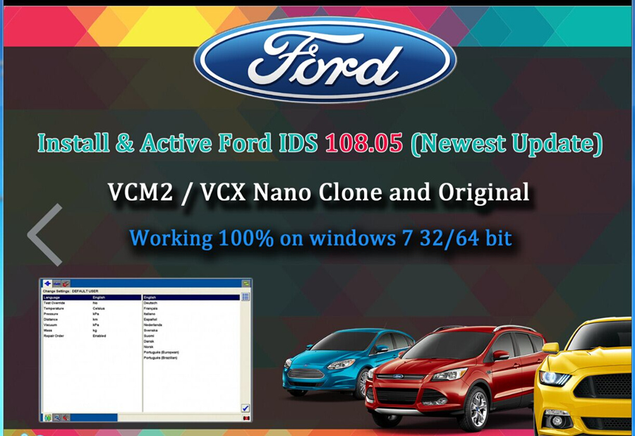 2018 Latest Ford VCM IDS V110.06 Full Software Support Multi-languages