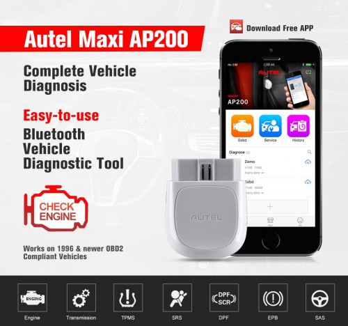 [Ship from UK]Autel MaxiAP AP200 Bluetooth OBD2 Scanner Code Reader with Full Systems Diagnoses