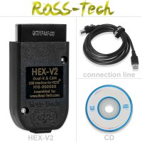 VCDS V2-196.2 HEX-V2 Intelligent Dual-K & CAN USB Interface Car Auto Fault Diagnosis Wire Cable with CD Software