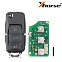 XHORSE XKB509EN Wired Universal Remote Key B5 Style Flip 3+1 Buttons for VVDI Key Tool English Version 5pcs/lot